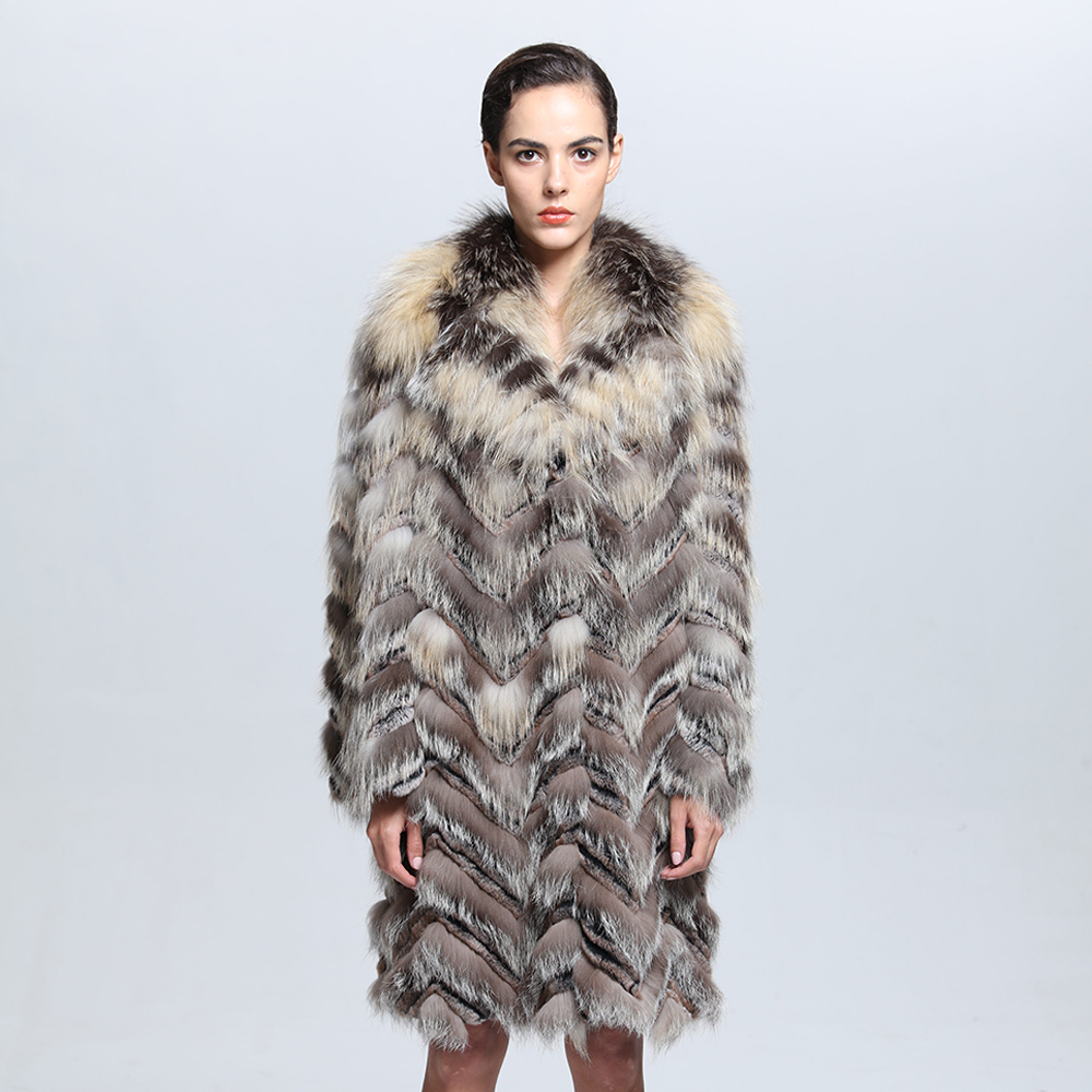 China Factory Hot Sale Long Real Fox Fur Coat