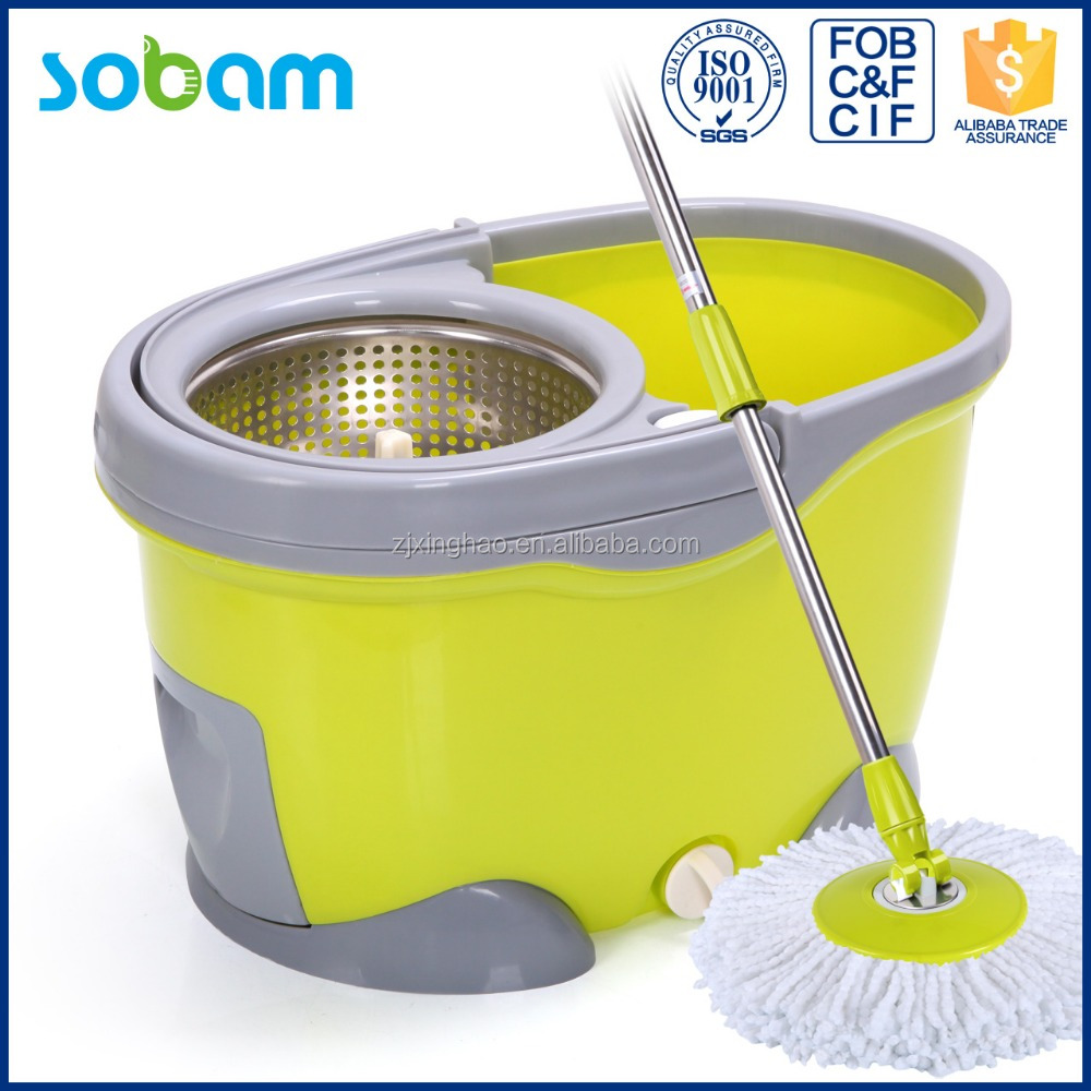 Most welcome smart cleaning mop trolley,S/S mop handle