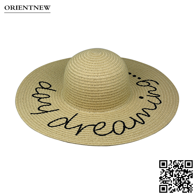 Fashion design wide brim lady straw hat with embroidery