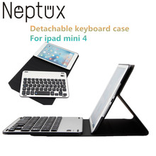 Ultra Thin Aluminun Bluetooth Keyboard For Ipad mini 4 Removable PU Leather keyboard case