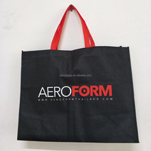 hot promotional eco-friendly recycled black 80gsm non woven shopping tote bag with custom logo