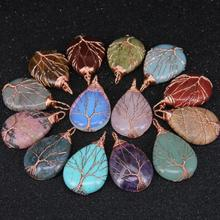 Tree of Life Copper Wire Wrapped Teardrop Gemstone Necklace Pendant with Copper Charms