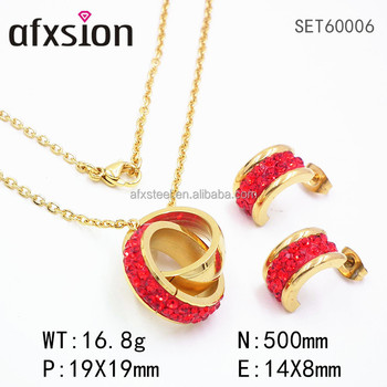 Women's Fashion Round Stainless Steel with diamond pendants and earrings jewelry sets wholesale prices
