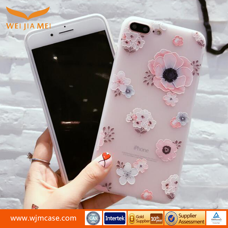 China supplier Custom cherry blossom IMD craft for iphone case tpu for iphone 7/7 plus/6s