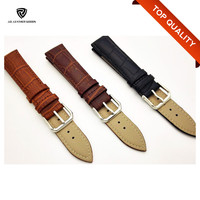 Factory Oem Crocodile Skin Style Leather Balck Watchband for Watch Strap