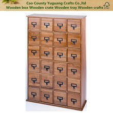Solid Pine Library Card File Media Cabinet, 24 Drawers, Solid wood