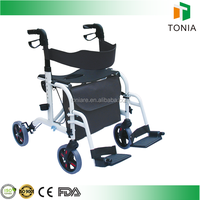 Tonia Foldable Aluminum Rollator with Footrest can be used as Wheelchair