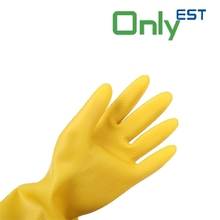 Superior quality long sleeve yellow color waterproof household latex gloves