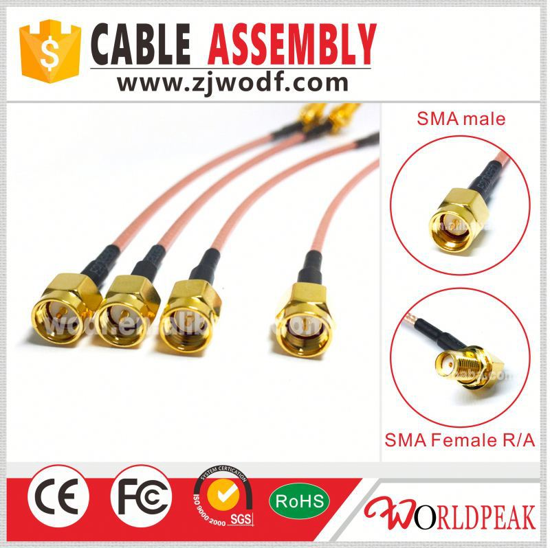 Sma female to SMA male adapter pigtail cable RG316 rg174 cable assembly 15cm for wifi antenna