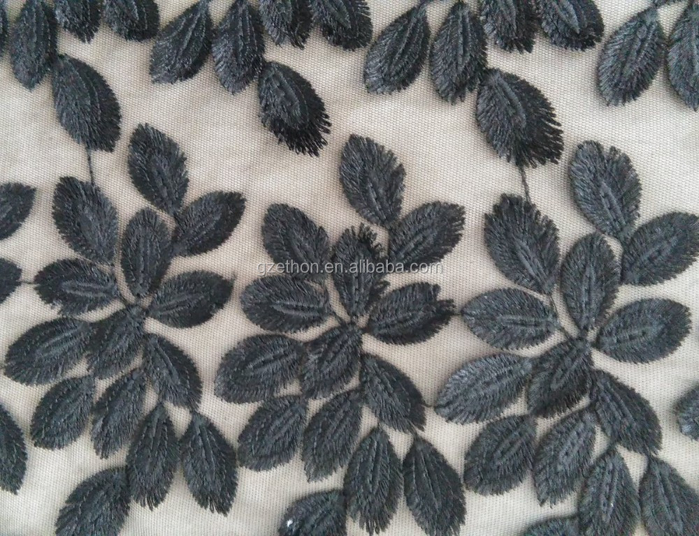 Top quality French design black color 3D leaf mesh lace embroidery fabric for dress