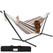 Double Hammock Space Saving Steel Stand &Portable Carrying Case Outdoor Yard bag