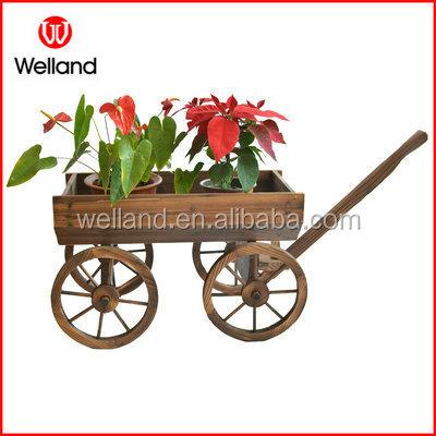 Antiguo carro de madera plantadores llama quemada jard n for Carros de madera para jardin
