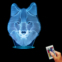 Wolf Face 3D LED Decorative Lighting Animal World USB Lamp 16 colors Changing LED Kid Room Night Light