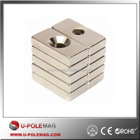 New 20 x 10 x 4mm Hole 4mm Block Rare Earth Magnets Apply to Generators Motors