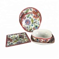 Spring Chinoiserie color box packing 5 Piece contemporary melamine table set