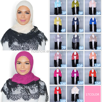 Latest Design Women Fashion Muslim Hijab Maxi Plain Viscose Lace Scarf