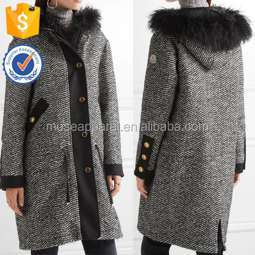 Shearling Trimmed Tweed Down Coat Women OEM/ODM Apparel Garment Clothing Customized Design