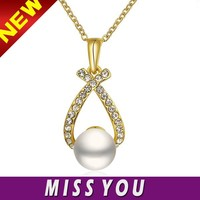 Yellow gold plated rhinestone artificial pearl 14kt gold jewelry