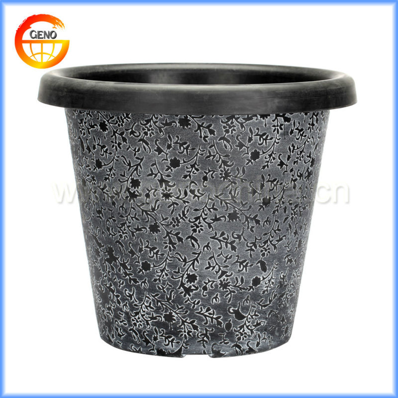 15 Inch Tall Round Floral Etch Plasticflowers pots For Decoration