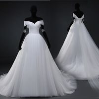 Real Photo White Flat Shouders Wedding dress Off Shoulder Tulle Puffy Dress Princess Ball Gown