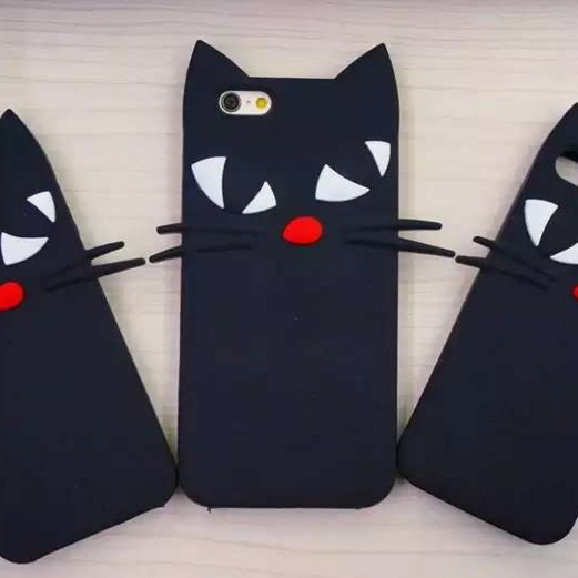LULU CAT Silicone Phone Case Cover For iPhone 6s Plus, Black Cat Animal Shape Phone Cover