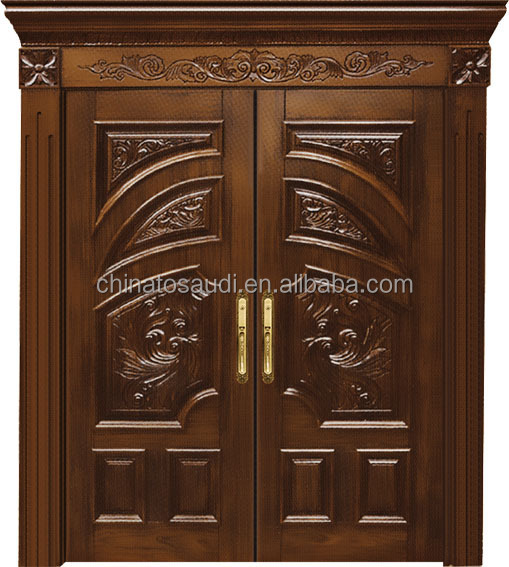 Latest Design Interior Room Door Commercial Double Solid Wooden Door