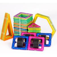 Educational Kids Toys 32PCS Magnetic Toy 3D DIY Building Blocks With 4PCS Square Wheel