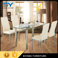 Oak dinning table set glass chinese restaurant tables and chairs CT014