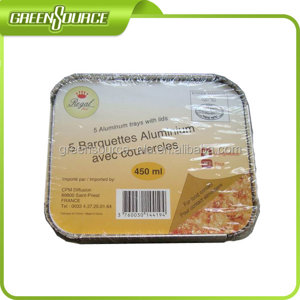 Rectangle aluminium foil food box 450ml