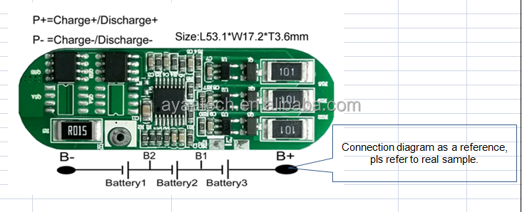 3S4A PCM BMS for 11.1V Li-ion /Li-polymer LiFePO4 Battery pack