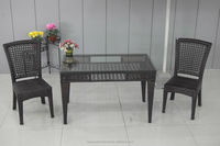 rectangular glass top rattan dining table and chairs