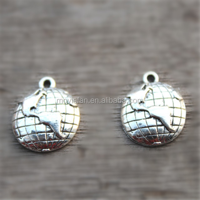 Globe Charms Antique Tibetan silver Lovely Mini Globe Charm Pendants Earth Pendants 15x18mm