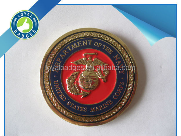 Custom Gold plated memorial challenge coin for marine corps