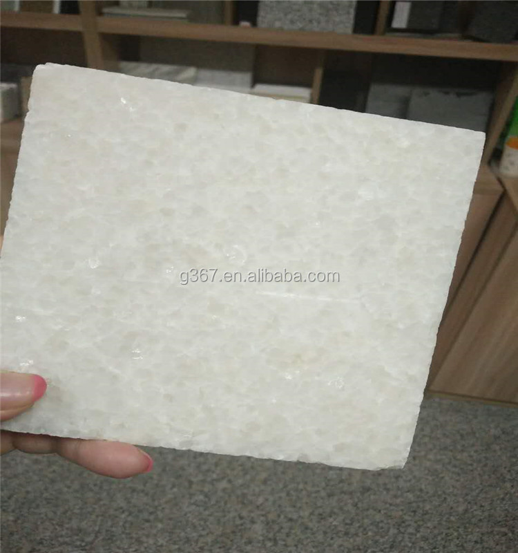 Flat carving Crystal White Marble honed top stone