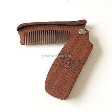 Custom logo red sandalwood beard comb folding wooden comb