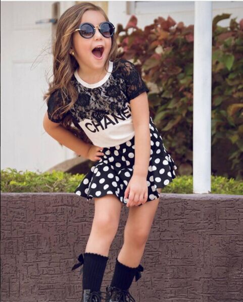 Girls Clothes Summer 2017 Brand Kids Girls Clothing Sets Fashion Short-Sleeve Printing Floral Shirt+Skirt Children Clothing whol