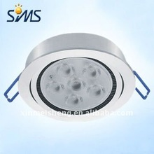 Flat plate silver aluminum round 6W led pir sensor ceiling light round