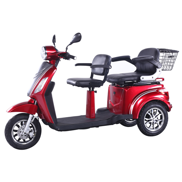60V 1000W Electric Tricycle with Two Seats for Disabled
