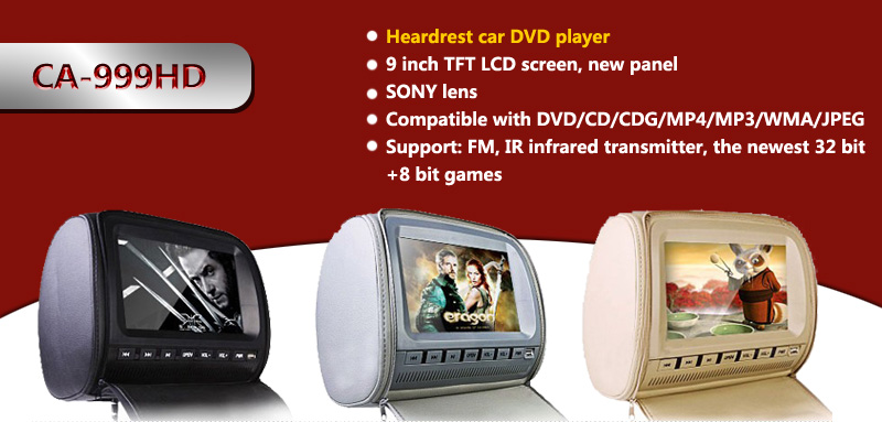 2015 best selling 9 inch/7inch headrest mount car dvd player for fiat grande punto evo