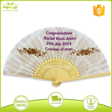 pesonslized bamboo customized fabric hand fan with silk bag