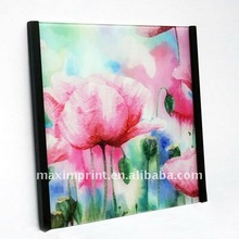 Pink Poppy Printing on Tempered glass Wall Art With Black Frame