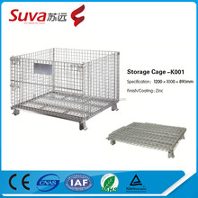 supermarket foldable Galvanized Pallet Industrial Stackable Wire Mesh Storage Cage