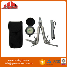 camping equipment(Survival kit with compass,torch and multi-tools)