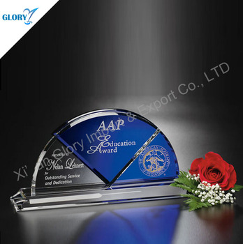 Custom Blue Small Bridge Semicircle Crystal Glass Trophies