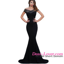 Latest Design Formal Black Off Shoulder Fishtail Japan Sex Prom Evening Gown