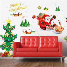 Merry Christmas Tree Santa Claus Self Adhesive Dust Proof Wall Sticker