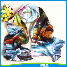 landscape painting silk scarf suzhou
