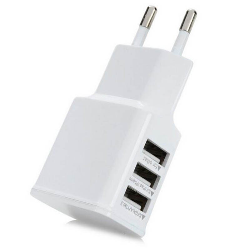 EU Plug 5V 3A 3 Port USB Wall Travel Charger For Cell Phone