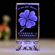 Best selling Rose 3D laser crystal block souvenir crystal cube with LED light base for brithday gift