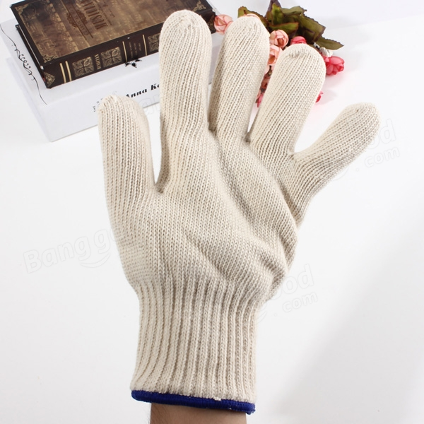 Brand MHR 7/10 gauge white knitted cotton gloves manufacturer in china/blue dots cotton gloves